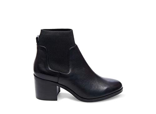 Steve Madden Womens Erika Leather Closed Toe Ankle, Black Leather, Size 10.0