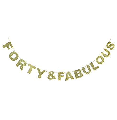 Hatcher lee Forty & Fabulous Banner Gold Glitter For Wedding Anniversary 40th Birthday 40 Years Old Party Decoration Sign Ideas -