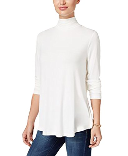 JM Collection Women's Turtleneck Top Eggshell - Top Ivory Shell
