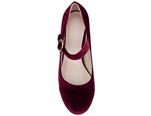 Tacón para Greatonu Mujer Jane Marry Zapatos de Morado WqFXnBXE