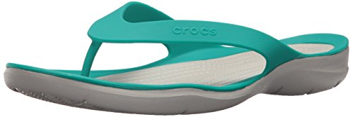 Crocs Women's Swiftwater Flip-flop, Tropical Teal/Pearl White, 7 M US (White Shimmer 7)