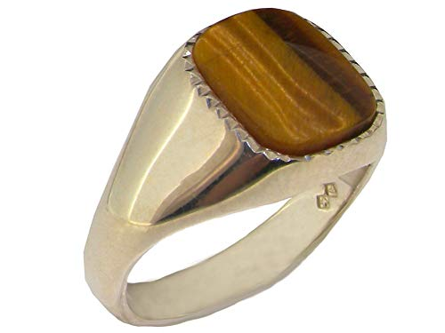 - Gents Solid Sterling Silver Natural Tigers Eye Mens Signet Ring - Size 9 - Sizes 6 to 13 Available