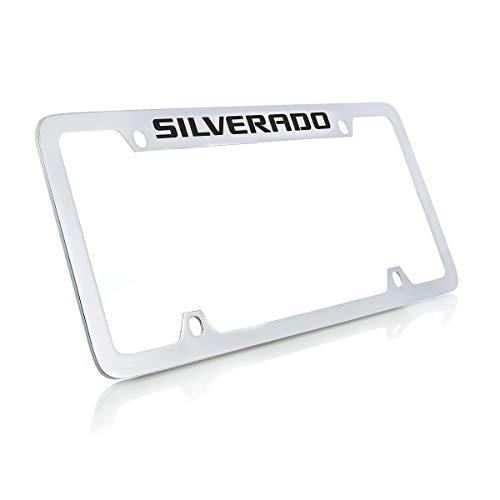 (Chevrolet Silverado Chrome Plated Metal Top Engraved License Plate Frame Holder)