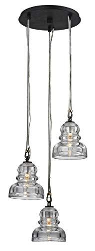 Troy Lighting F6053 Menlo Park 3-Light Pendant Cluster - Deep Bronze - Historic Clear Pressed Glass Shade,