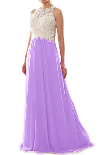 Women Ball Formal Lace Party Prom Lavendel High Gown Neck Long Chiffon MACloth Dress 1qdwv1