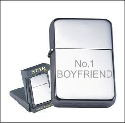 No1 BOYFRIEND PERSONALISED ENGRAVED STAR CHROME PETROL LIGHTER 122 ENGRAVED FREE OF CHARGE by STAR PETROL LIGHTER