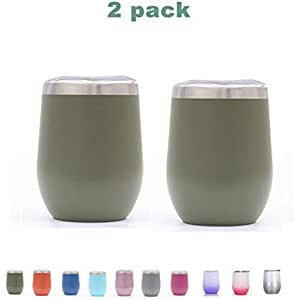 2pcs 12 Ounce Stemless Wine Glass Tumbler with Lid Stainless Steel Double Wall Vacuum Insulated Travel Cup (green05)