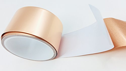 Copper Tape - Copper Foil Tape for EMI & RFI Magnetic Shielding on Guitars | Slug Repellent | Arts, Crafts & Stained Glass Supplies | Conductive Adhesive | 2 in (Copper Tubing Prices)