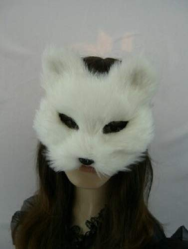 Cute White Fox Fur Stuffed Animals Plush Mask for Kids Girls Concert Halloween Birthday Party Disguise Costume Role-playing Game Acting Fancy Dress Prom Dress