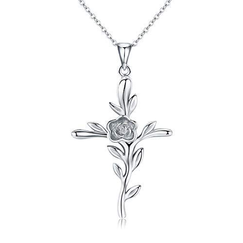 CUOKA MIRACLE Cross Necklace, Rose Flower Pendant Necklace Crucifix Necklace Sterling Silver Religious Jewelry Gift for Women Men Teen (Rose Gold)