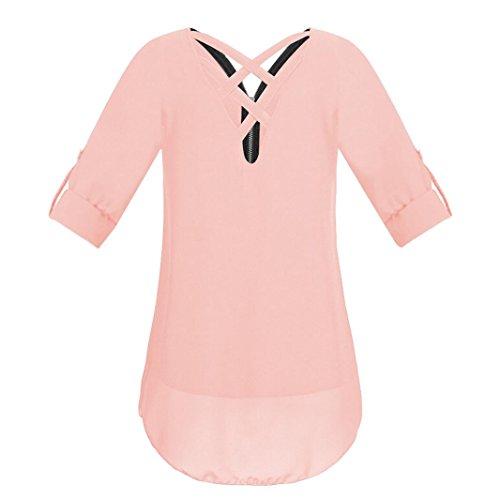 Damen Oberteile Rosa Reißverschluss Frauen Shirt Sommer DOLDOA Tank T 12 Tops PrwPYSa