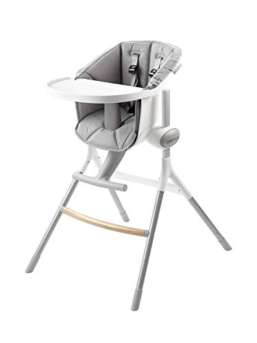 BEABA Up & Down High Chair, 6-Position Height Adjustment for All Table Heights Including Island and Bar, Removable Tray, Perfect for Babies and Toddlers, Gray ()