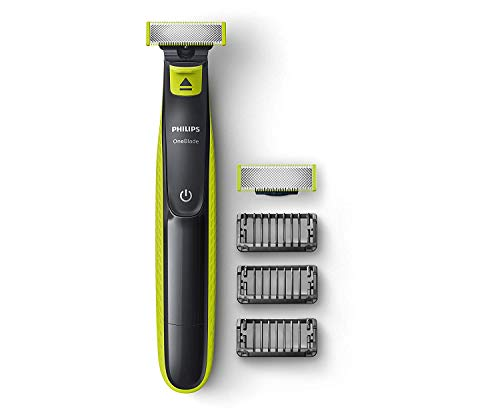 Philips QP2526/10 Cordless OneBlade Hybrid Trimmer and Shaver with 3 Trimming Combs and extra blade (Lime Green)