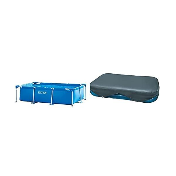 Intex 28271Np Small Frame Piscina Desmontable, 260 X 160 X 65 Cm, 2.282 Litros + 58412Np Cobertor Rectangular Piscina 305 X 183 Cm Y 262 X 175 Cm