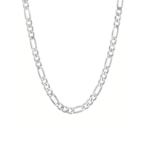 Verona Jewelers 925 Sterling Silver 5.5MM Mens Figaro Link Chain Necklace - Silver Figaro Link Necklace for Men 20-30 (30) (20, Necklace)