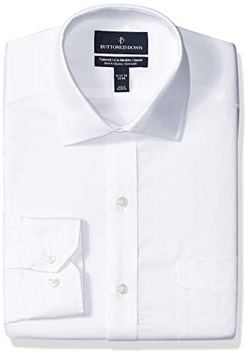 White Twill Shirt - BUTTONED DOWN Men's Tailored Fit Stretch Twill Non-Iron Dress Shirt, White, 15.5