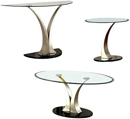Furniture of America Mansa 3-Piece Metal Coffee Table Set in Satin Plated