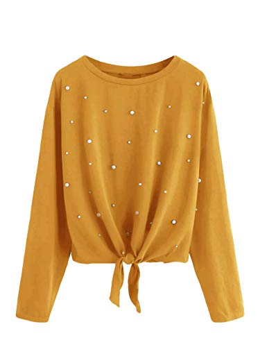 Beaded Long Sleeve Top - Romwe Women's Pearl Beaded Knot Front Long Sleeve T Shirts Top Ginger Large