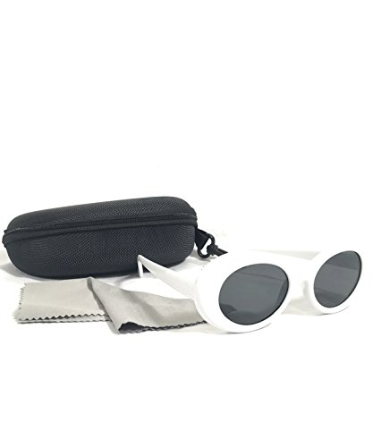 (2 PAIRS) Bold Retro Oval Mod Thick Frame Sunglasses Round Lens Clout Goggles by Desert Beach (Image #1)
