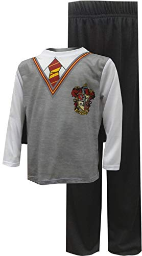 Harry Potter Big Boys' Harry Potter 'Gryffindor House Crest Wizard Uniform with Cape' 3 Piece Costume Pajama Set, Multi, ()