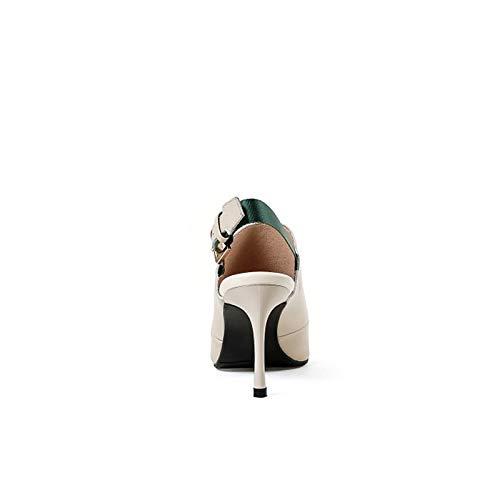 Stiletto ZHZNVX Automne en Chaussures Printemps Cuir Beige Talon Bout À Escarpins Et Femme Black Noir Nappa Pointu P0PqwtrA