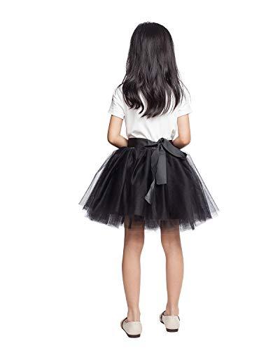 (Little Girl Tutu Skirt A Line 7 Layers Tulle Skirt Party Princess Dance Tutu Dress (3T -10T) Black)