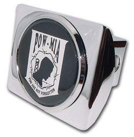 - POW / MIA Shiny Chrome Metal Hitch Cover Fits 2 Inch Auto Car Truck Receiver