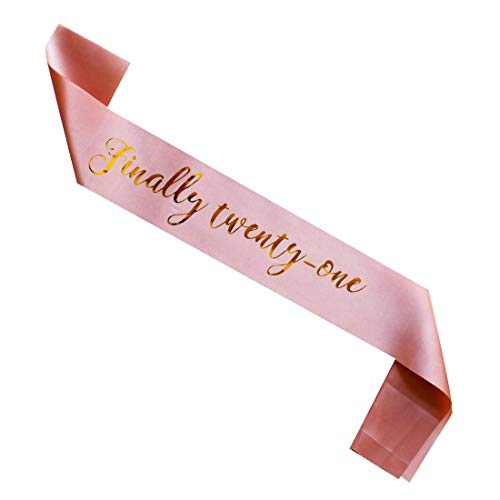 MAGJUCHE Finally Twenty one Birthday Pink Sash, Rose Gold Girl 21st Birthday Gifts Party Supplies -
