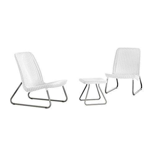 Keter 17197637 Rio Ensemble table et chaises en plastique imitation rotin Blanc