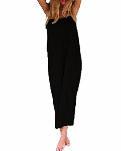 Punto Casual ACHIOOWA Elegante Grande Sin Túnica Espalda Escote Larga negro Talla Linea Largo Manga Vestido A Mujer Hombros Falda Sin Dress Redondo Halter Descubierta Caftán Suelto Cuello ZZrRqxH