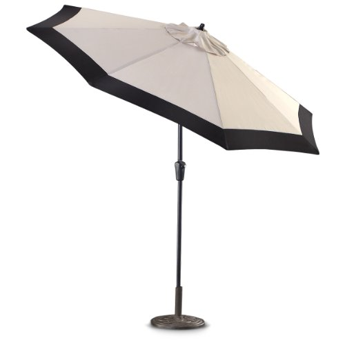 CASTLECREEK 9 Two-Tone Deluxe Market Patio Umbrella, Khaki Black
