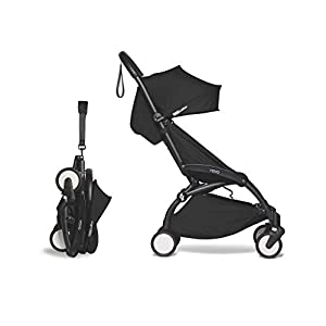 Babyzen-YOYO2-Stroller-Black-Frame-with-Black-Seat-Cushion-Canopy