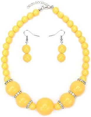 MKmd-s Exquisita joyería de Perlas con Perlas de Diamantes, Conjunto de Pendientes de Collar, Colores Brillantes, te Hacen más Amarillo Brillante y Encantador