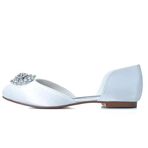 Closed Toe Shoes,Round Flat New Elobaby Toe Platform cm Purple Satin Flat Heel Wedding Women 0 6 A0qfB4