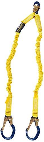 3M DBI-SALA Shockwave 2, 1244409 6' Shock Absorbing Lanyard, Tubular Web, 100% Tie Off w/ Alum Rebar Hooks On Leg Ends, Snap Hook On Other, Yellow