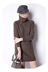 The Small Cat Winter Cashmere Sweater Womens Turtleneck Loose Style 100 Pure Cashmere Sweater Pullover Brown Xl