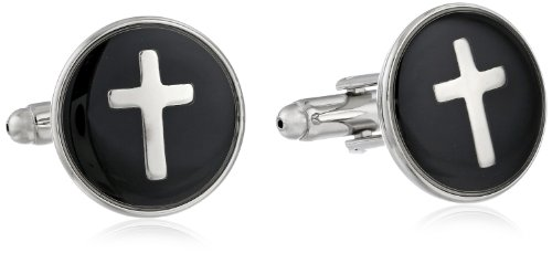 Status Men's Cuff Links Round Enamel With Cross, Silver, One Size