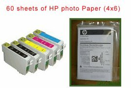 - 5 pack (2 black, 1 Cyan, 1 Magenta, 1 yellow ink and 60 sheets of 4x6 HP brand glossy photo paper) remanufactured ink-jet Cartridges to replace T0321 T032120, T0422 T042220,T0423 T042320,T0424 T042420 compatible for Epson Stylus C82, C82wn CX5200 CX5400 C-82, C-82wn CX-5200 CX-5400 all-in-one AIO (print scan fax copy) inkjet photo printer