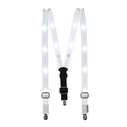 White Costumes Suspenders - Party Supplies,Glowseen Light up Glowing Clip