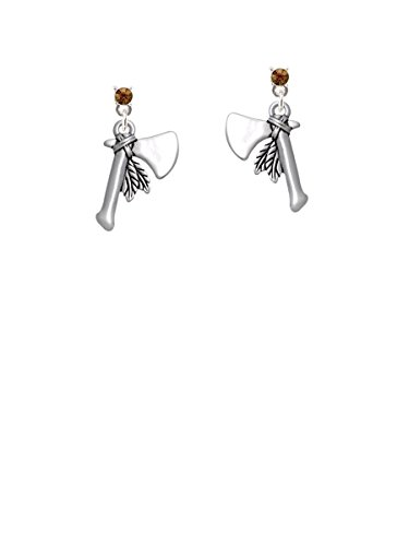 Tomahawk with Feathers Brown Crystal Post (Tomahawk Earrings)