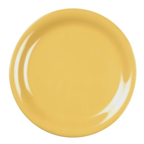 Excellanté Yellow Melamine Collection 10-1/2-Inch Narrow Rim Round Plate, Yellow, 12-Piece