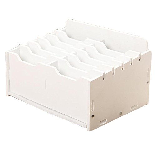 Cell Phone White Box - Ozzptuu Wooden 12-Compartment Desktop Organizer Multifunctional Storage Box Desk Supplies for Cell Phones Holder White
