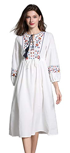 Shineflow Womens Casual 3/4 Sleeve Floral Embroidered Mexican Peasant Dressy Tops Blouses Shirt Dress Tunic (L, White 3)