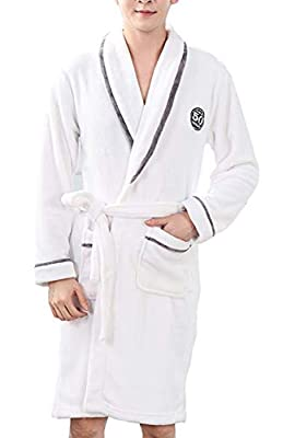 Seaoeey Men's Flannel Nightgown Classic Style Bathrobes Pajamas Robes