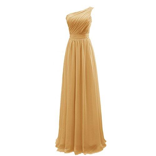 Tivansi Women's Chiffon One Shoulder Bridesmaid Dresses Long gold Size 26
