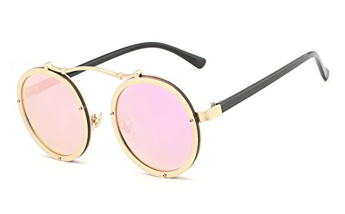 Coating Gothic Shades Eyeglasses sol Shades de Pink Vintage Gold Mirror Men UV400 Female Ruanyi hombres Gafas vXU7wvq0