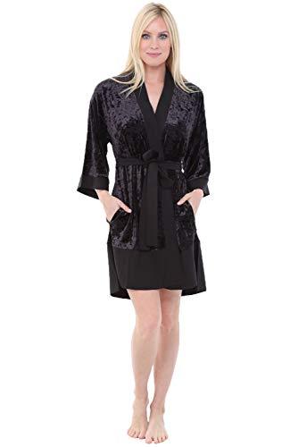 Alexander Del Rossa Womens Short Fleece Kimono Robe, Bathrob