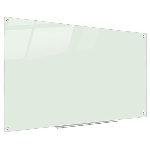 Magnetic Glass Dry Erase Board Wall Mounted Whiteboard with 1 Magnetic Eraser,1 Marker Tray,4 Dry Erase Markers,4 Magnets for School, Home, Office Aluminum Tray 48 x 32 inch