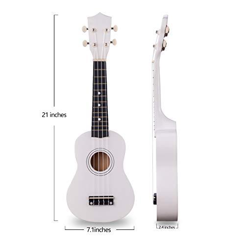Wooden Ukulele 21 Inch Soprano Hawaiian Guitar Basswood Small Guitar for Beginner (White)