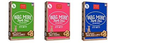 Buddy Biscuits Cloud Star Wag More Bark Less Grain Free Itty Bitty Baked Dog Treats Bundle: (1) Smooth Aged Cheddar, (1) Sweet Potato, and (1) Chicken & Sweet Potatoes Flavor, 7 Ounces Each (3 Boxes)